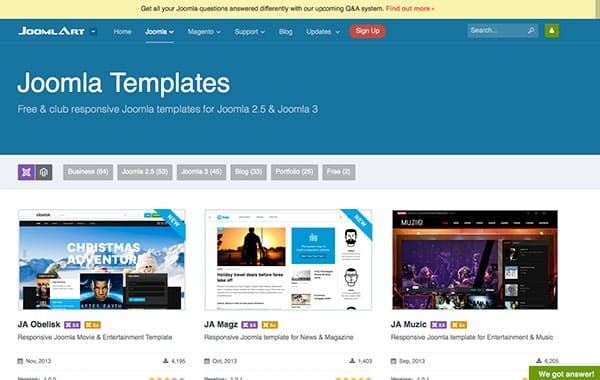 Joomla templates joomlaart web design blog for Joomla org templates