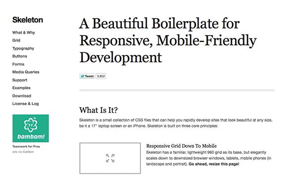 skeleton responsive web design framework