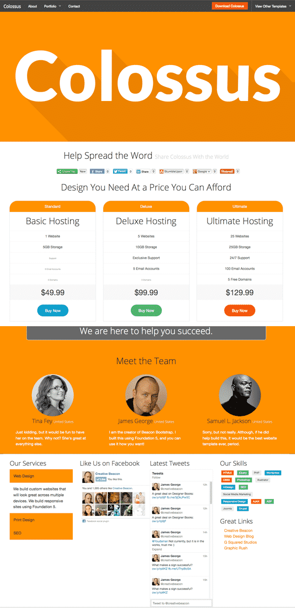 Colossus free html5 website template