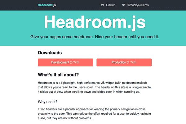 Headroom.js is a free script