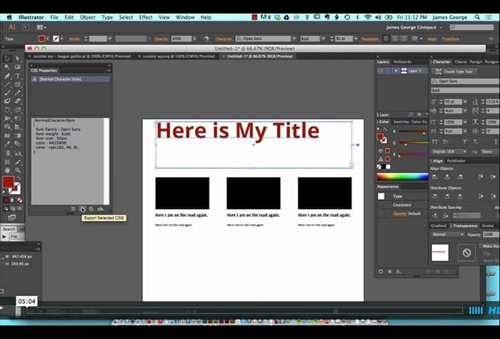 Css Properties in Illustrator: Tutorial Video
