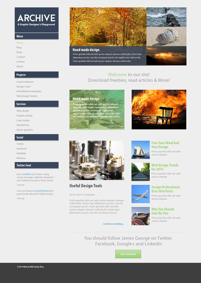 Archive Free Photoshop Website Template