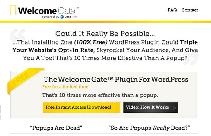 email optin plugins - Welcome Gate