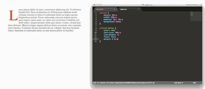 css-drop-cap - web design news
