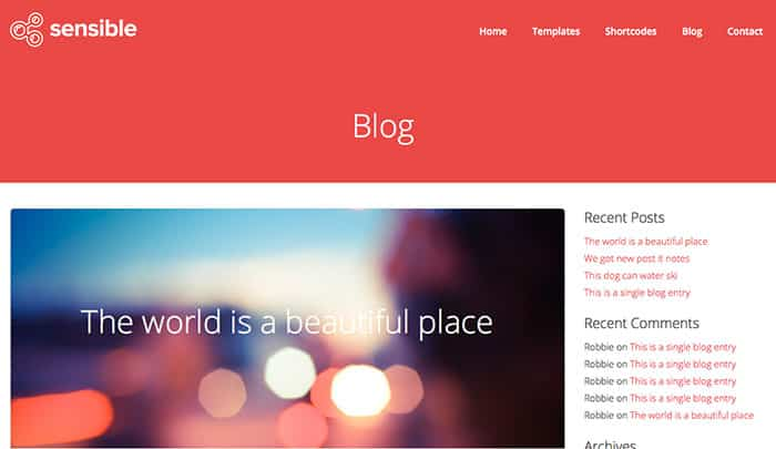 Sensible Free WordPress Theme - Web Design Blog