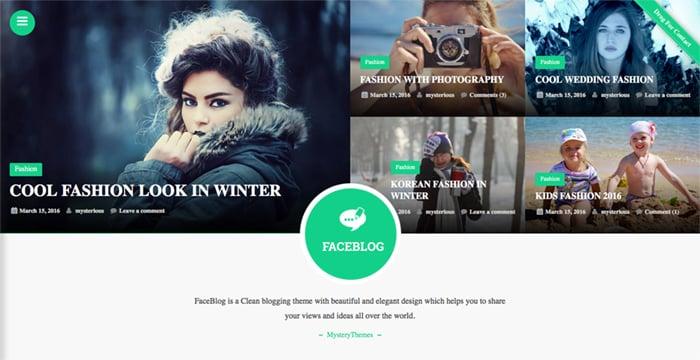 FaceBlog Free WordPress Theme main featured header