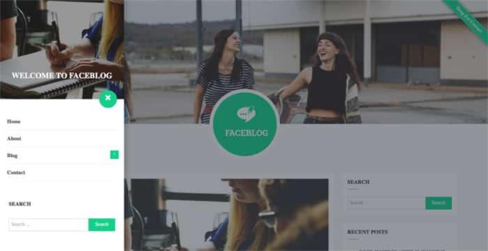 FaceBlog Free WordPress Theme menu