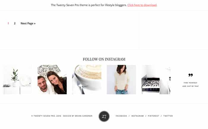 Twenty Seven WordPress theme footer