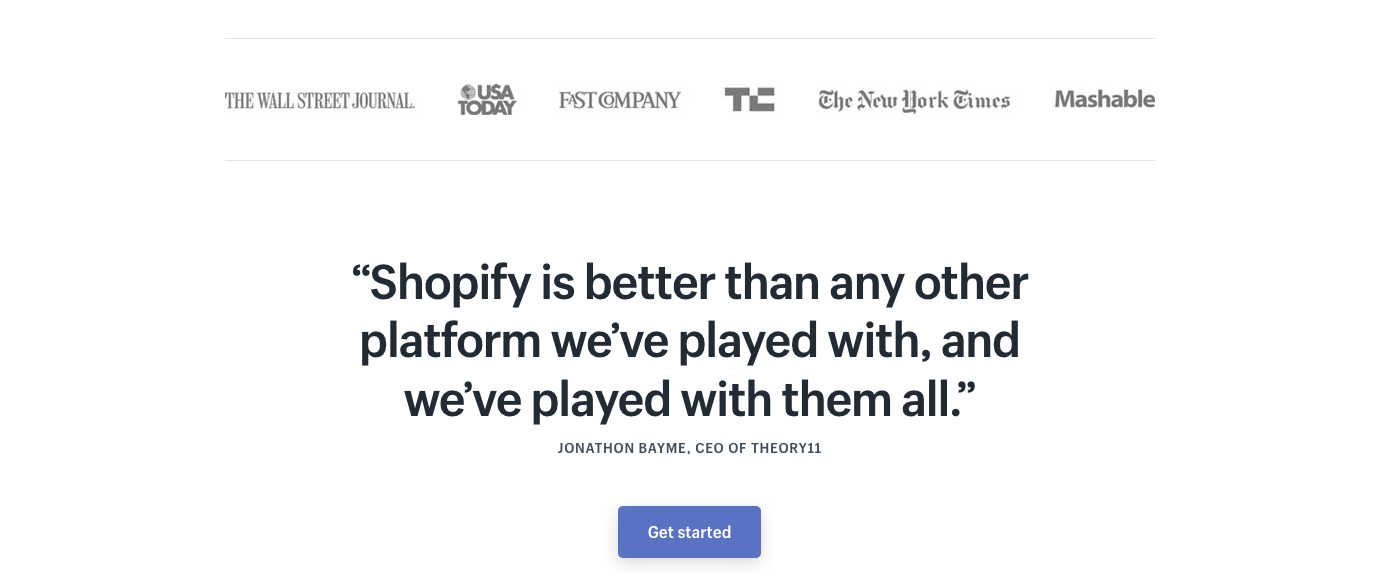 shopify landing page examples